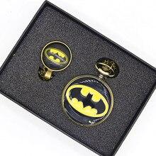 Ретро Бронзовый Бэтмен фильм оригинальные карманные часы наборы мужские и женские часы ожерелье кулон подарочные наборы
