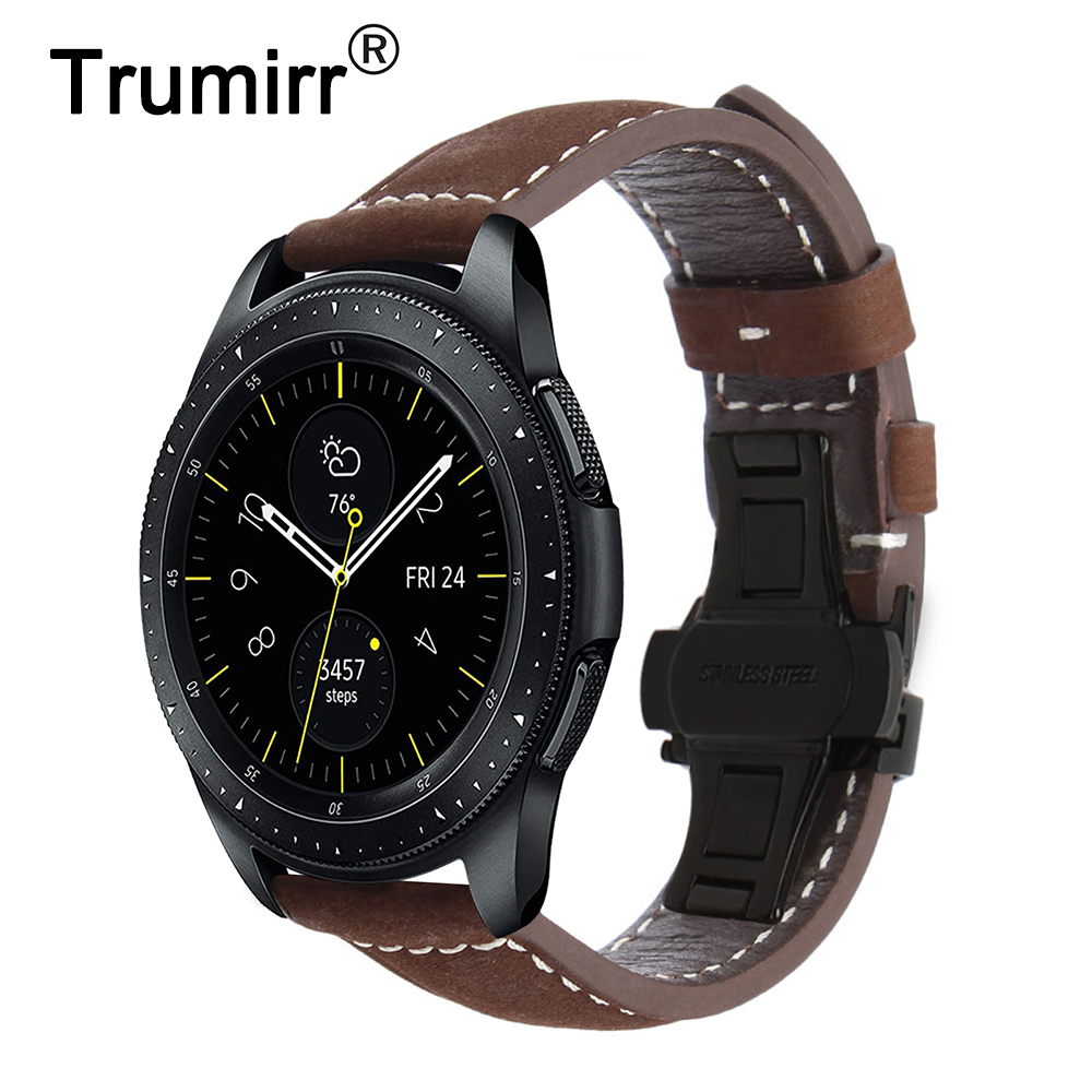 Italy Genuine Leather Watchband 20mm 22mm for Samsung Galaxy Watch 42mm 46mm R810/R800 Quick Release Band Butterfly Clasp Strap line art