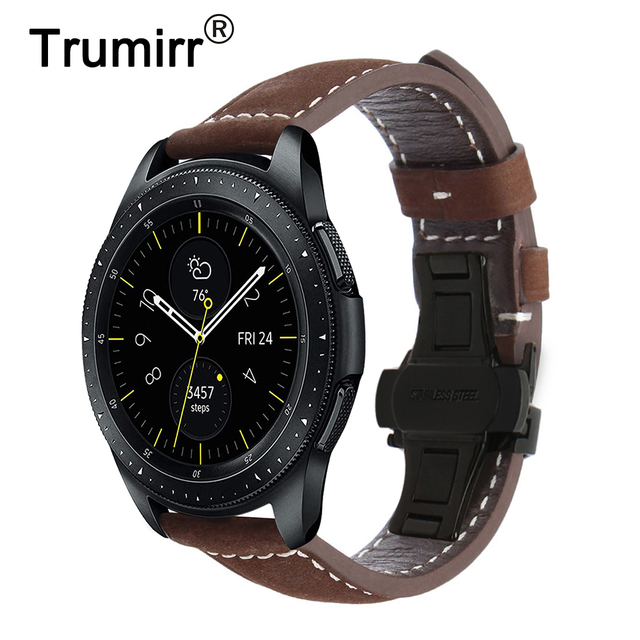 Włochy pasek do zegarka z prawdziwej skóry 20mm 22mm do zegarka Samsung Galaxy 42mm 46mm R810/R800 Quick Release Band motyl zapięcie na pasek