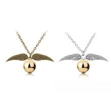 24 قطعة/الوحدة الساحر مدرسة أجنحة الملاك الباحث سحر Quidditch الذهبي Snitch معلقة قلادة مجوهرات بالجملة بالجملة