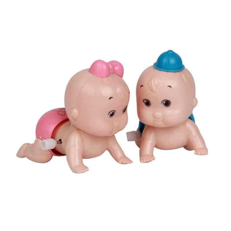 1PC Bonito Boneca de Presente Do Partido Do Miúdo Dos Desenhos Animados Bonito Wind Up Clockwork Brinquedos Bunda Balançando A Cabeça Crawling Baby Dolls vento brinquedos para o bebê