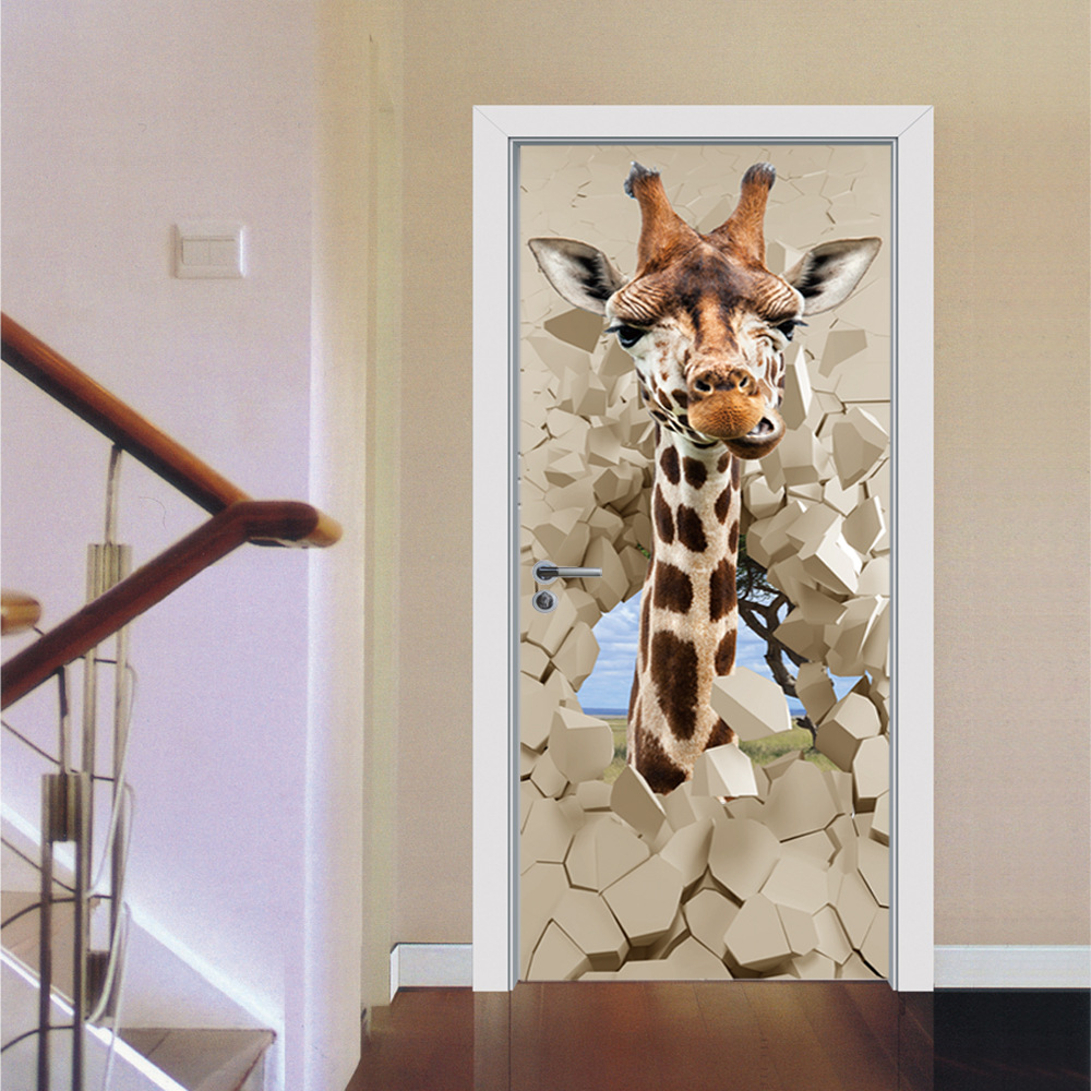 Image 2 - Giraffe Shark Deer Dinosaur Animal Creative Door Wall Sticker Waterproof Wall Paper DIY Poster Self adhesive Home Decor-in Wall Stickers from Home & Garden