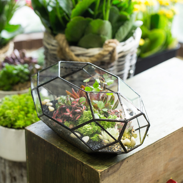 Modern Glass Flower Pot Large Irregular Polyhedral Geometric Glass