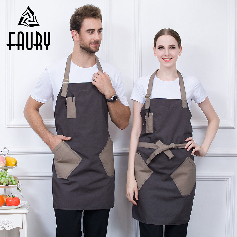Unisex Spliced Color Halter Neck Adjustable Strappy Pockets Food Service Kitchen Cooking Anti-dirty Work Wear Uniform Long Apron