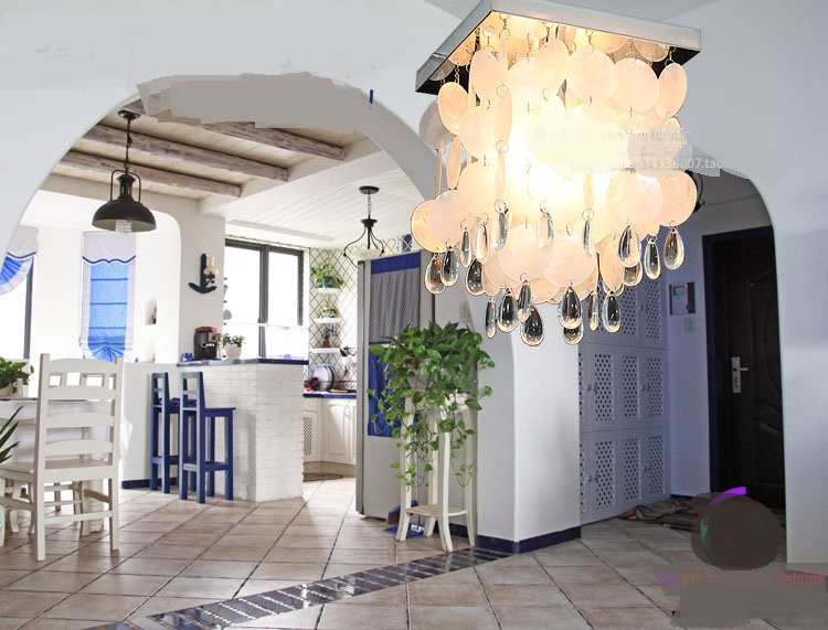 White Sea Salt Shell Ceiling Light Creative Handmade Beaded Living Room Bedroom Single Head E14 ceiling lamps ZA