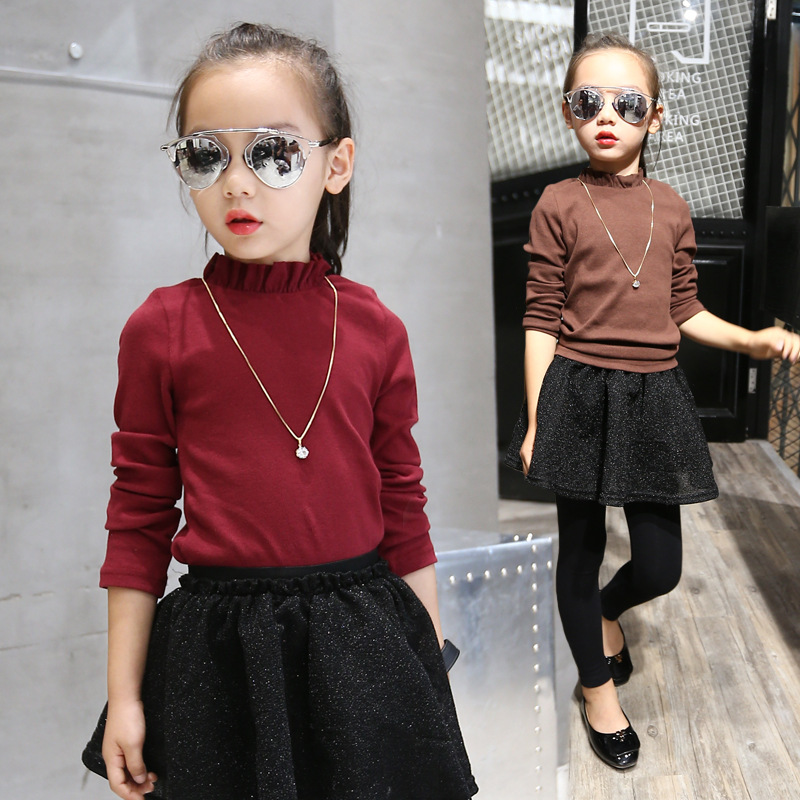 New Autumn Girls Knit Shirts 2016 Children Long Sleeve Basic Shirts Cute Kids Thin Shirt Toddler Tops Not Contain Necklace,3-12Y