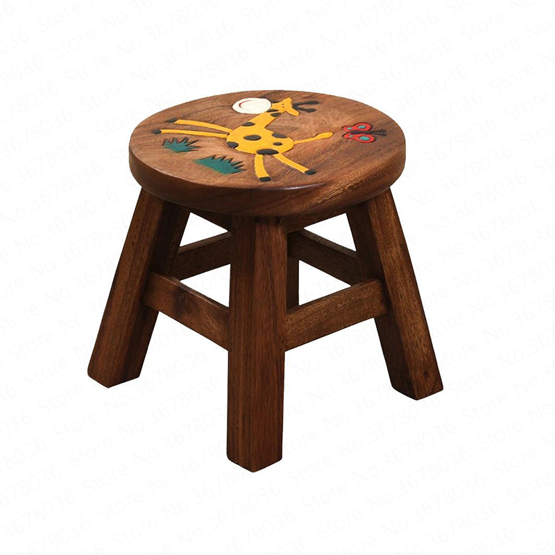 Square Stool Solid Wood Small Bench Stool Portable Creative Children Cartoon Home Change Shoes Chair Baby Eating Seat Stool(China)