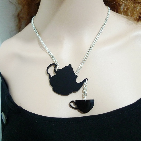 Hip Hop Personality Black Teapot Acrylic Choker Punk Necklace Female Night Club DJ Dancer Jewelry
