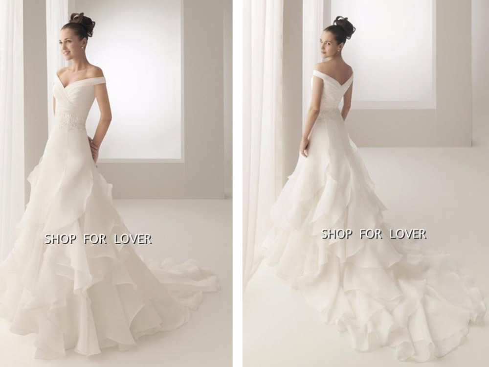2016 new hot sexy vestido de noiva v neck romanti casamento cap sleeve organza ruffles tiered vintage wedding dress bridal gown in Wedding Dresses from Weddings Events