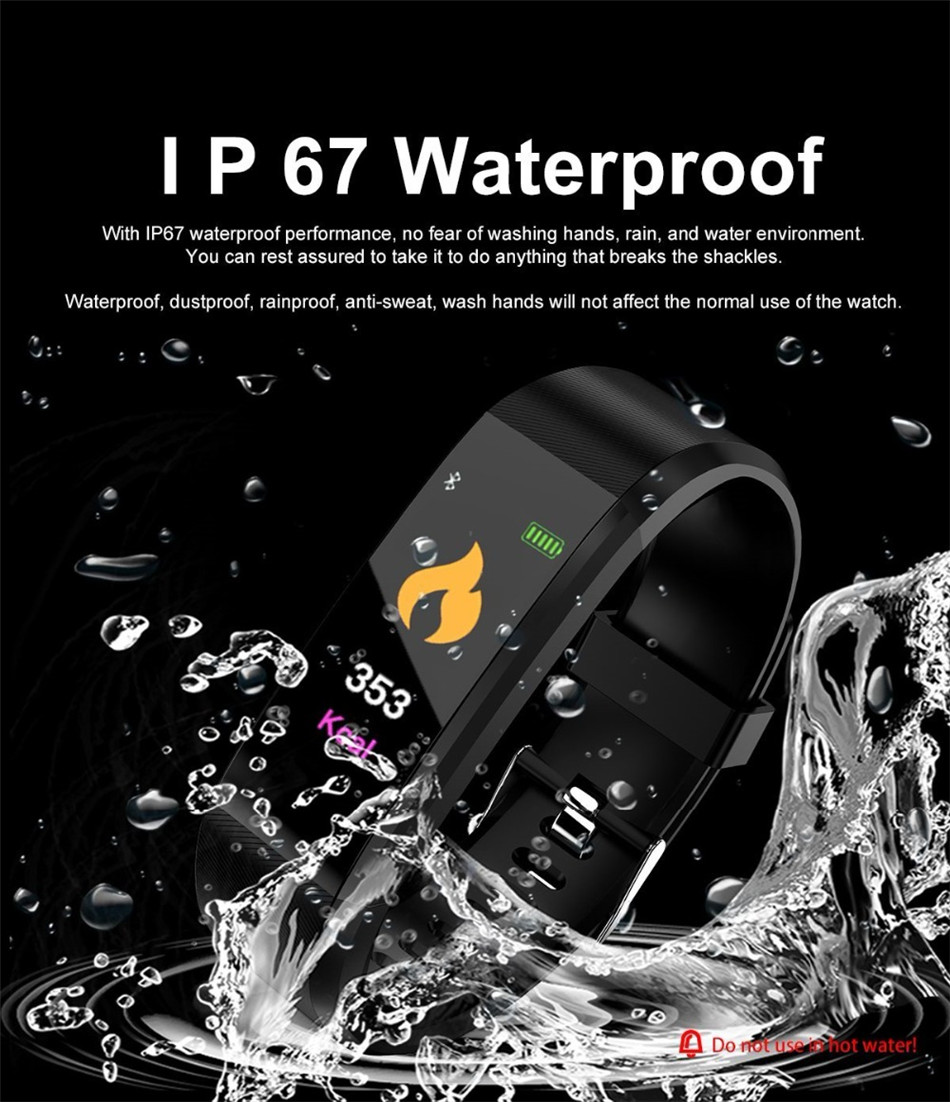 Casual Sports Bracelet Watch Women Men Color Screen IP67 Waterproof Watch Heart Rate Blood Pressure Pedometer For Android IOS