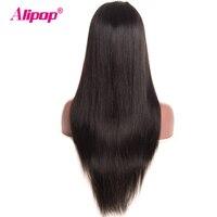 Pre Plucked Full Lace Human Hair Wigs For Black Women Brazilian Straight Lace Wigs ALIPOP Non