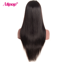 Pre Plucked Full Lace Human Hair Wigs For Women Black Brazilian Straight Lace Wigs ALIPOP Non Remy Swiss Lace Wig With Baby Hair