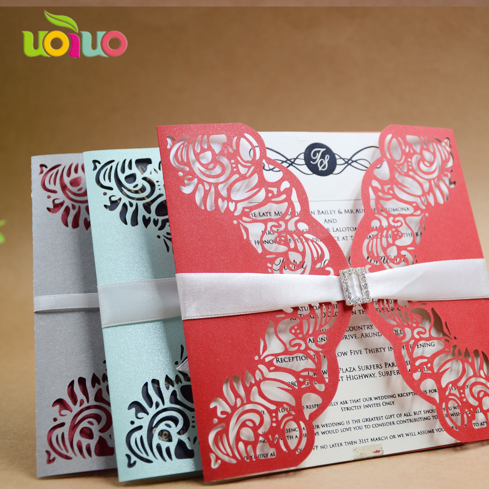 Simple laser cut lace wedding invitation cards elegant white pearl ...