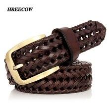 Cinturón Unisex de piel auténtica para hombre y mujer, cinturón tejido de punto de calidad, correa de lujo, cinturones tipo faja, envío directo