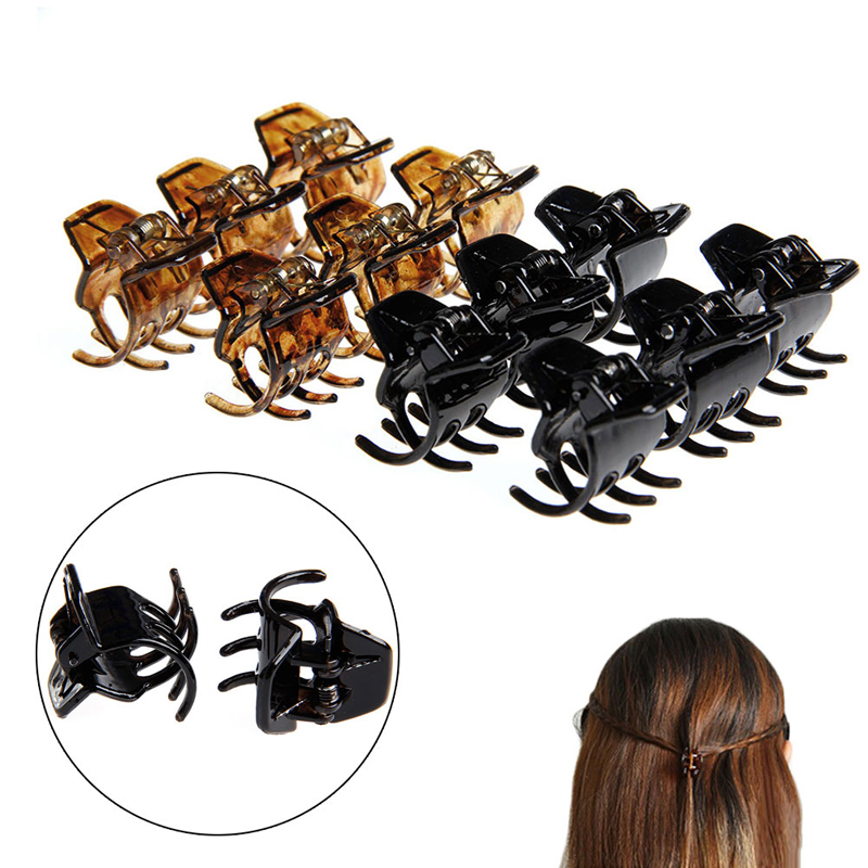 12Pcs Women Hair Claws Styling Plastic Mini Clip Claw Clamp 9356 women hair clip fashion hair claw black hairpin hair accessories for women simple hair crab clamp 2 7 2cm 12pcs lot