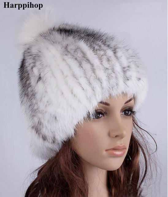 New Real Mink Fur Hat Women Fashion Mink Fur Hats Natural Mink Fur Cap Genuine Warm Winter Female Hat