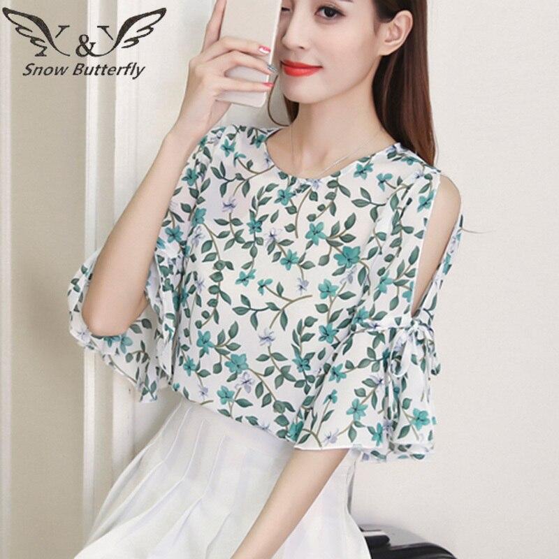 a1d6815081a 2019 летняя шифоновая блузка женские блузки модные корейские с открытыми  плечами печать короткий рукав кавайный Топ