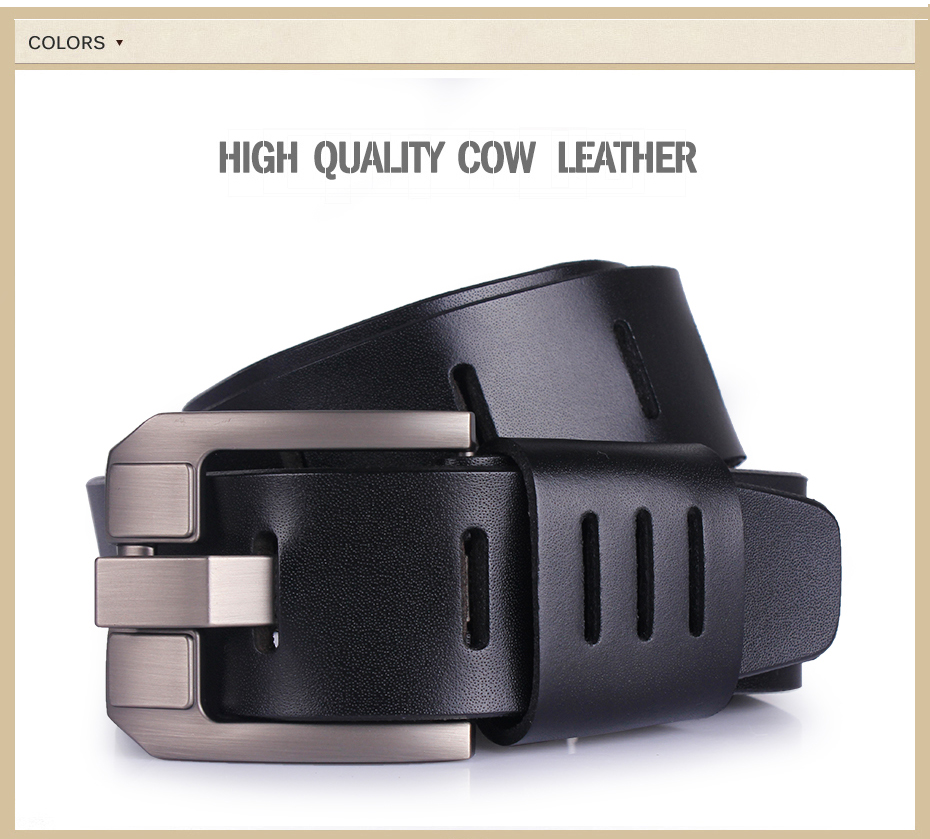 Cowhide Genuine Leather Belts For Men Pin Buckle