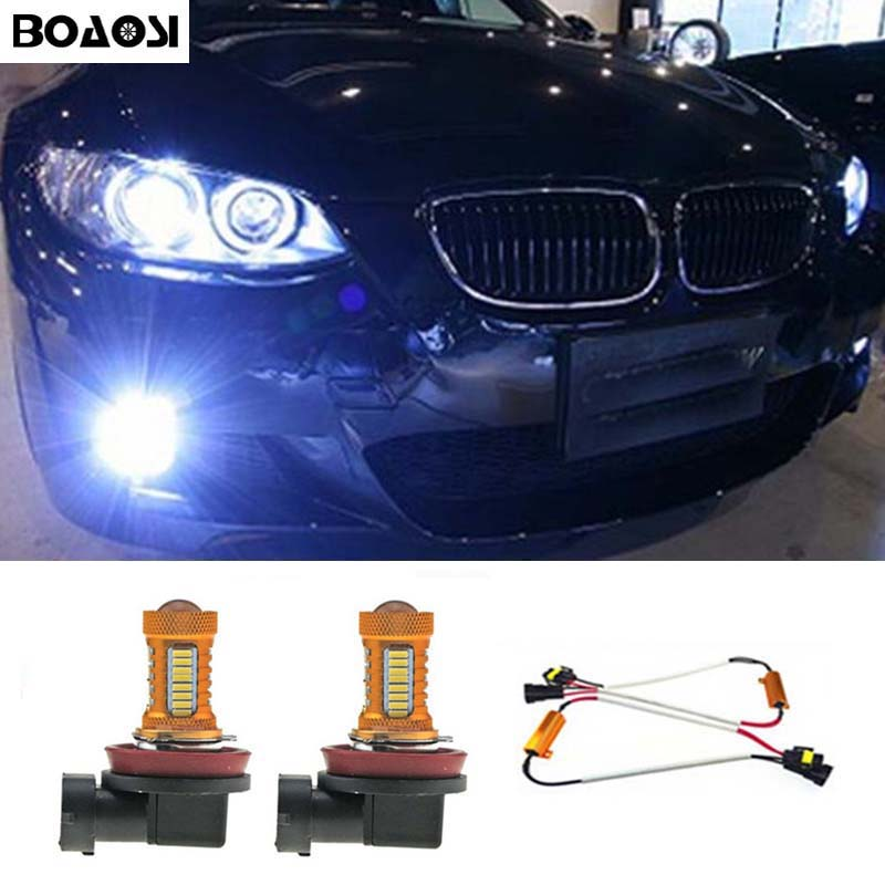 BOAOSI 2x H8 H11 Samsung 4014 LED DRL Fog Light Lamp Bulb + Canbus Decoders Error Free For BMW E71 X6 M E70 X5 E83 F25 x3 boaosi 2x led h8 h11 car fog driving lamp light bulb for bmw e39 325 328 m mini sport