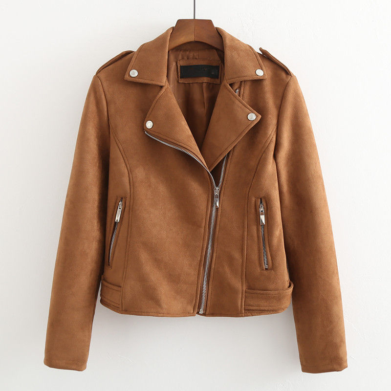 New Spring Suede   Jacket   Women Fashion   Basic     Jackets   Chaqueta Mujer Zipper Short Coat Women Casual Motorcycle   Jacket   Female C5227