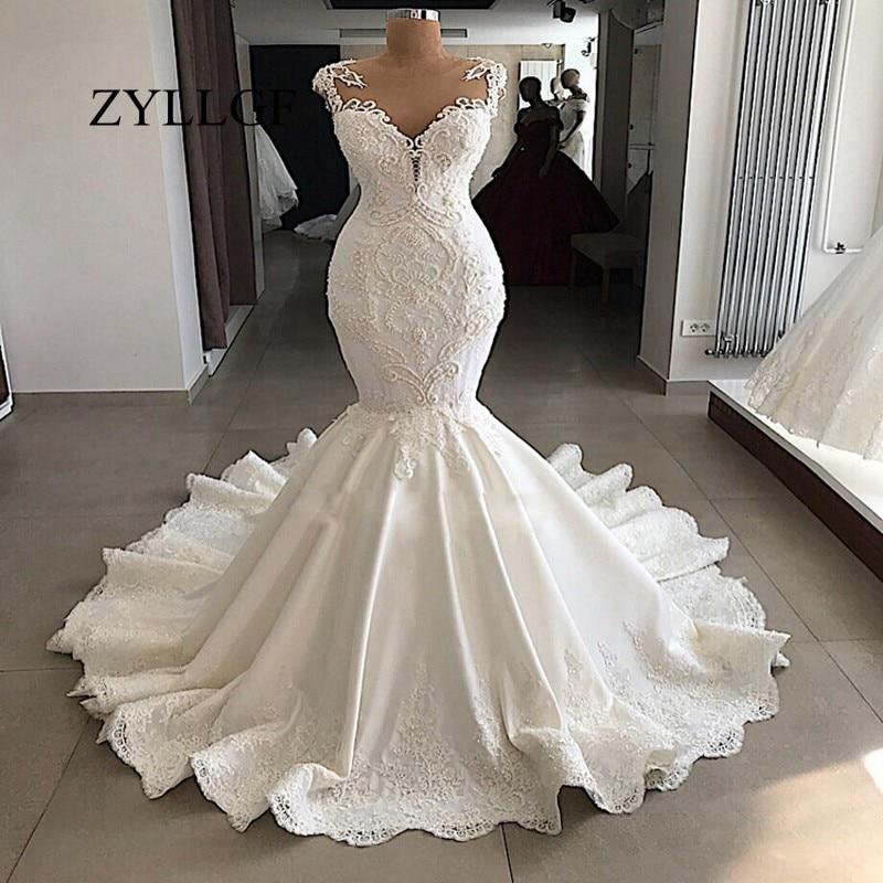 Zyllgf Sexy Robe De Mariee Sirene 2019 Dos Transparent Perle Dentelle Appliques Bateau Cou Robe De Mariee Ivoire Vraie Robe De Mariee Rs2