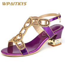 2018 New Exquisite Crystal High-heeled Shoes Woman Fashion Elegant Purple Golden Rhinestone Buckle Strap Womens Wedding