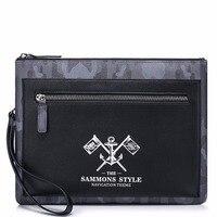 Navigation Thiết Kế Thời Trang Neo Embossing PU Leather Người Đàn Ông Giản Dị Envelope Clutch bag túi Kinh Doanh Nam Messenger Vòng Tay Túi