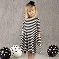 Caliente venta nuevo otoño niños vestido de boda niñas bebés vestidos niños Striped Bow manga larga de encaje princesa del vestido ocasional para el partido