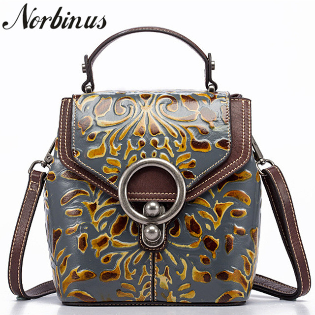 Norbinus خمر النساء جلد طبيعي على ظهره الفاخرة مصمم تنقش صغيرة Daypack حقيبة السيدات جلد البقر الكتف Crossbody أكياس-في حقائب الظهر من حقائب وأمتعة على  مجموعة 1