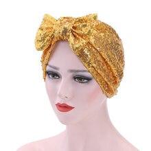 Véu Muçulmano envoltório turbante chapéu arco-nó das mulheres lantejoulas  cap quimioterapia perda de cabelo chapéu Hijabs islâmi. 7f945354f72