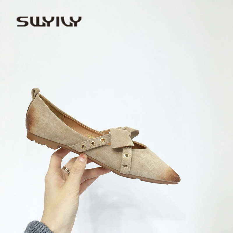 SWYIVY Women's Flats Pointed Toe Rivet Bow 2018 Spring Single Casual Shoes Ladies OL Comfortable Low Heel Flat Shoes Soft Bottom new 2016 factory matte shoe women pointed toe red bottom low heel pump lady single ol work career spring fall shoes 678 2suede