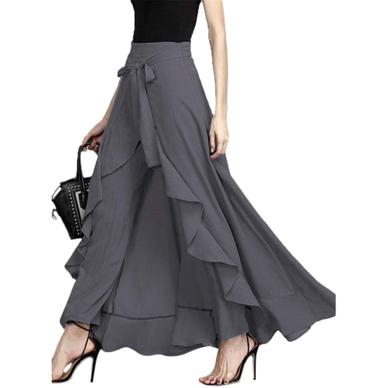 New Women   Wide     Leg     Pants   Chiffon Tie-Waist Ruffle   Pants   Solid Color Long Chiffon Trousers Ruffled Hem   Pants   For Ladies