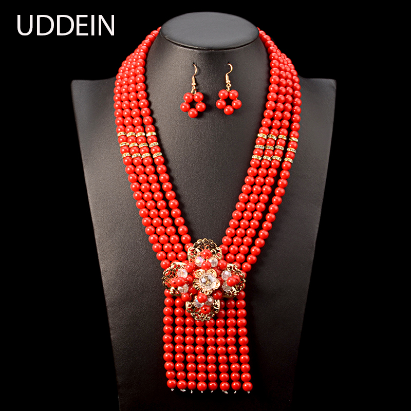 b7952e6ee84c Conjunto de joyería de boda nigeriano nuevo UDDEIN accesorios de novia  India collar de gargantilla de flores de cristal para mujer conjunto de  joyería de ...