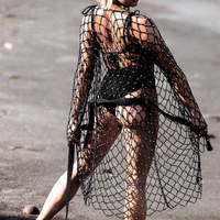 Knitted Bead Black Sexy Swim Bikini Beach Cover Up Women Tunic Fishnet Swimsuit Coverup Crochet Summer Beach Dress 2018 Cardigan