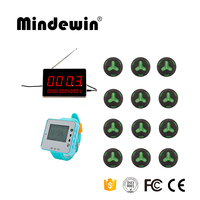 Mindewin Service Calling Systems, Call Waiter Service 12pcs Call Buttons +1pc LED Display +1pc Watch Receiver For Waiters Call