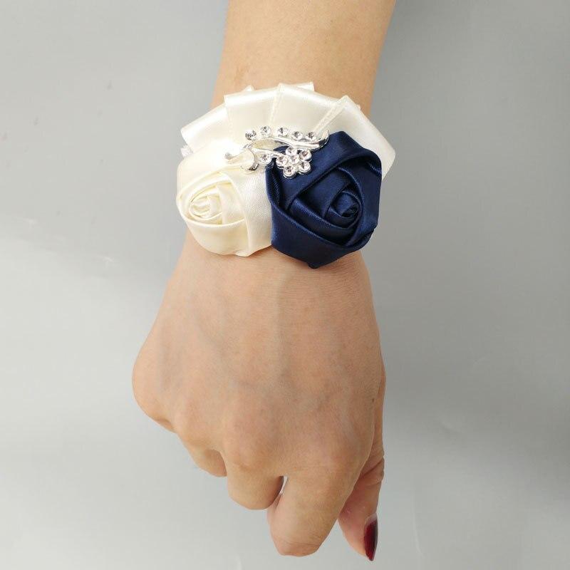 Girls Flower Corsage Bridesmaid Bracelet Wedding Corsages Hand Flower Bracelet For Bridesmaids Wrist Band Prom Bracelets Beading