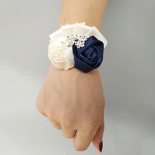 Girls Flower Corsage Bridesmaid Bracelet Wedding Corsages Hand For Bridesmaids Wrist Band Prom Bracelets Beading