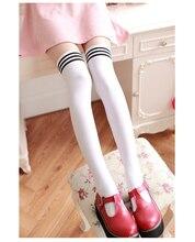 1 Double Lolita Velvet Base Socks Black Pantyhose WomanS Kawaii White Striped Stockings Leisure Campus Knee Sexy Costume