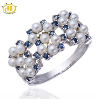 Hutang Natural Freshwater Cultured Pearl and Blue Sapphire Solid Sterling Silver 925 Ring Women's Fine Jewelry Anniversary Gift