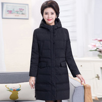 Middle aged down jacket women's long style thick large size mother white duck down coat stylish lady's hooded Winter clothes
