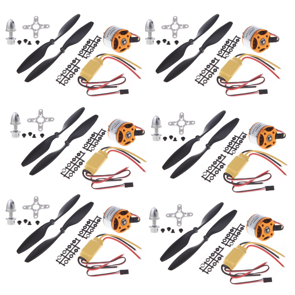 6set lot A2212 1000KV Brushless Outrunner Motor 30A ESC 1045 Propeller 1 pair Quad Rotor Set