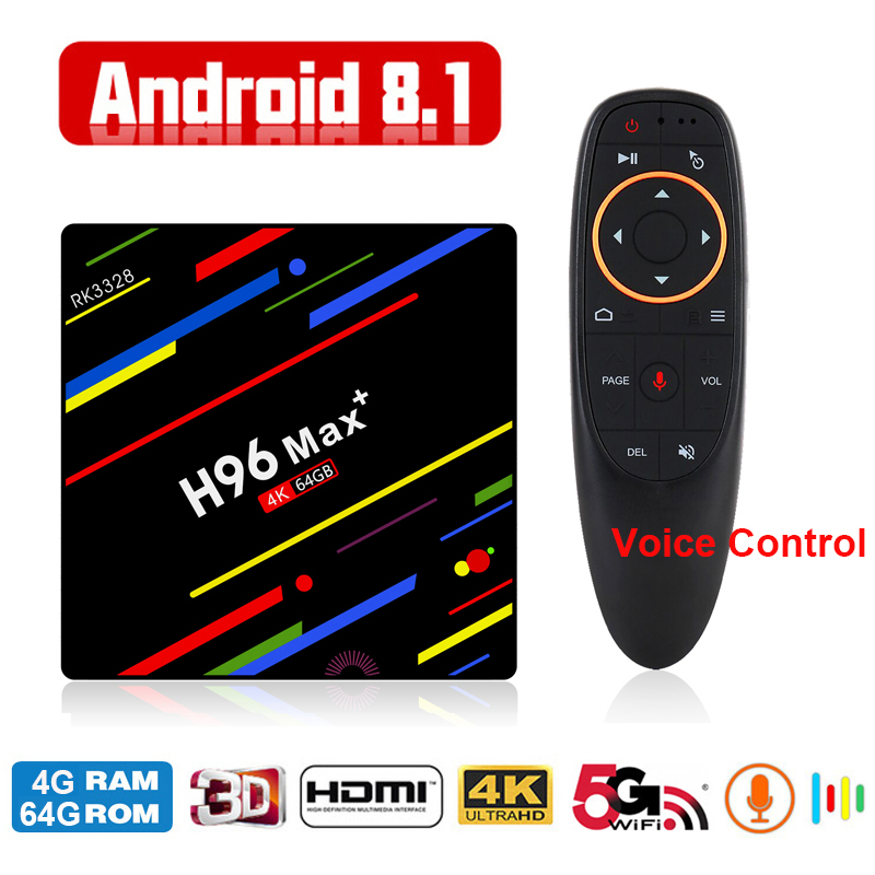 Global Android Smart TV Box Voice Remote Google Assistant RK3328 4G 64G TV Receiver 4K Wifi