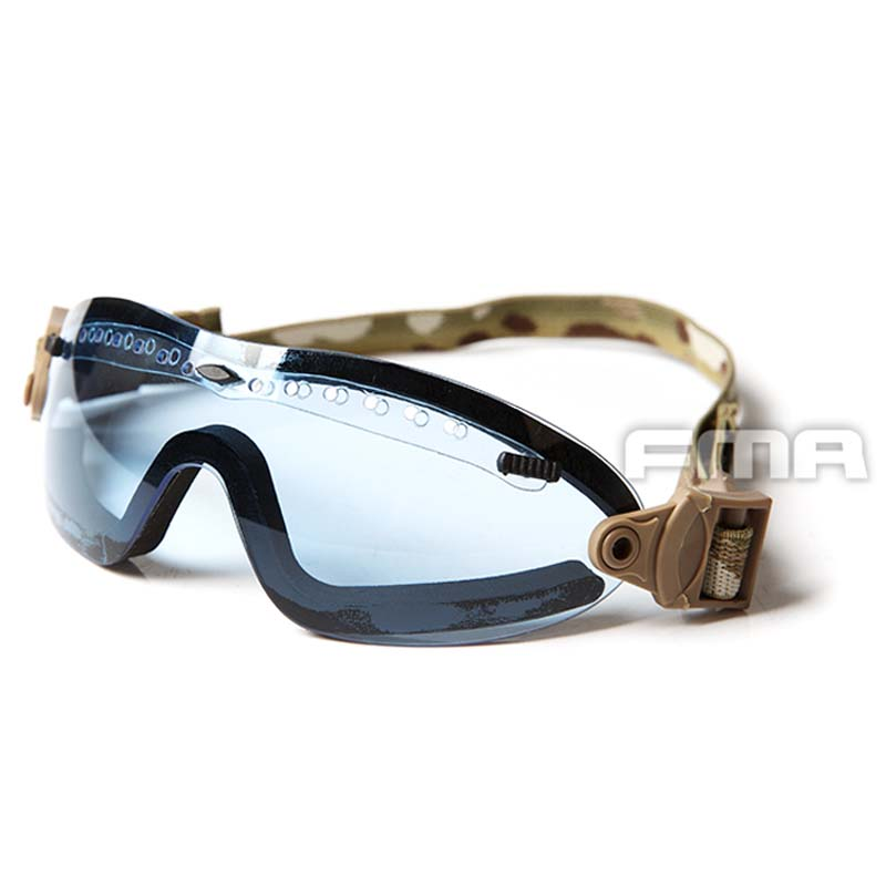 FMA Shipping  SFOutdoor Sports Tactical BOOGIE REGULATOR Goggle Glasses Low Profile Adjustable Eyewear Blue Lens