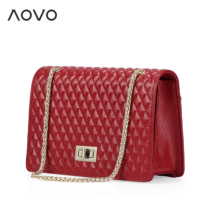 ФОТО 100% Natural Genuine cow leather bag Lovely Chain Diamond Lattice crossbody bag Fashion candy colors  shoulder messenger bags