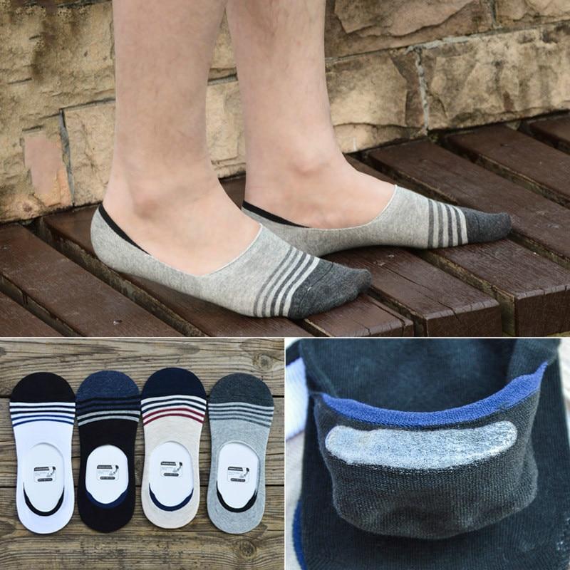 NoShow Non Slip Mens Socks Casual Soft Cotton Sock Boat Non-Slip Invisible No Show Socks