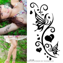 2 PCS HC1148 Women Sexy Waist Waterproof Fake Tattoo Harajuku Black Butterfly Tattoo Fake Leaf Pattern