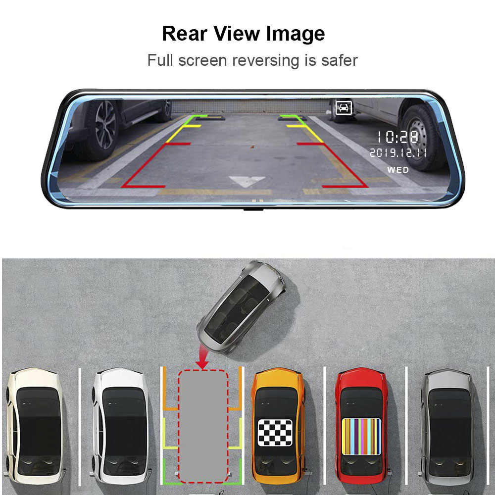 HGDO 4 グラム 10 インチダッシュカムデュアルレンズバックミラー車 dvr アンドロイド 8.1 1 + 16 ADAS ナビゲーションフル Hd ビデオビデオレジストラレコーダー