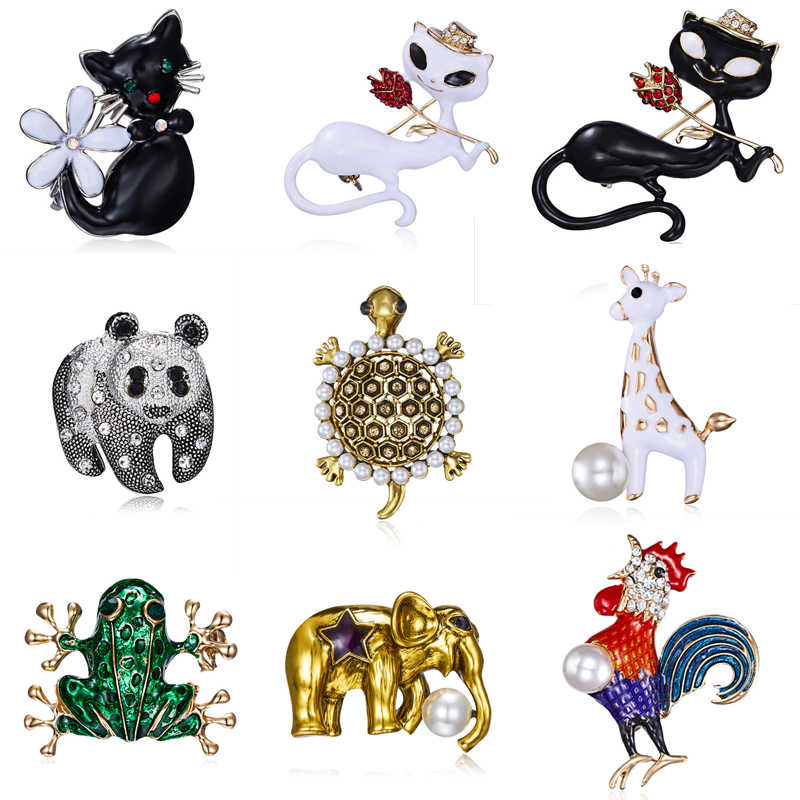 Animal Panda chat tortue éléphant broche cheval coq poisson grenouille broche broches Badges col robes broche bijoux