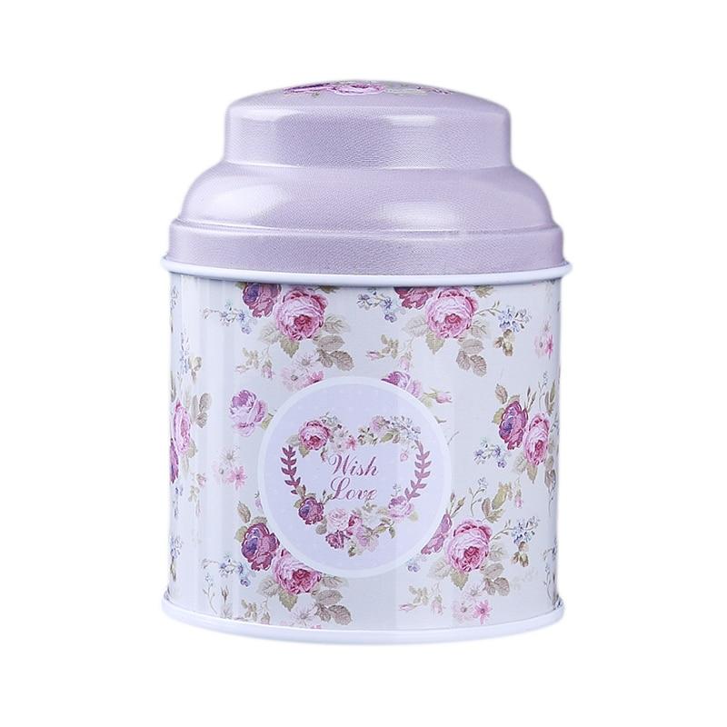 Кухонный домашний декор, металлический Цветочный кофе, чай, сахар, контейнер для конфет, банка, жестяная коробка для сортировки, аксессуары для дома - Цвет: light purple
