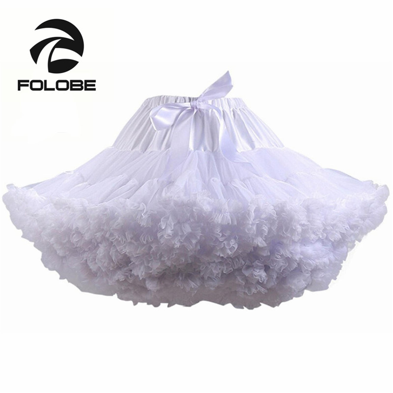FOLOBE White Dance Skirt 40cm High Waisted Ball Gown Tulle Skirt Mini Skirts Women Adult tutu Faldas Saias Femininas